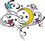 moon stars tattoo