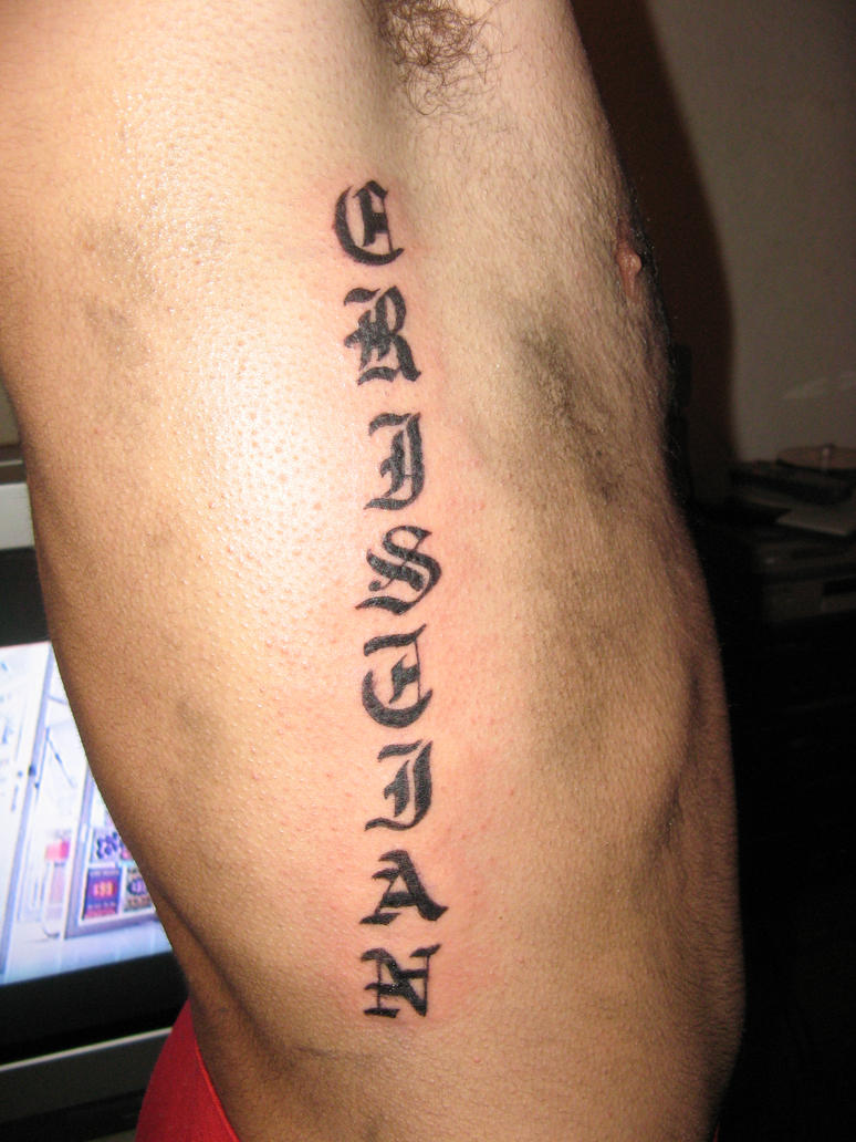 Gothic Lettering Tattoo By Smarelda