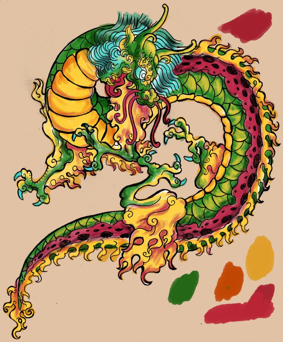 Dragon tattoo sketch 2 by