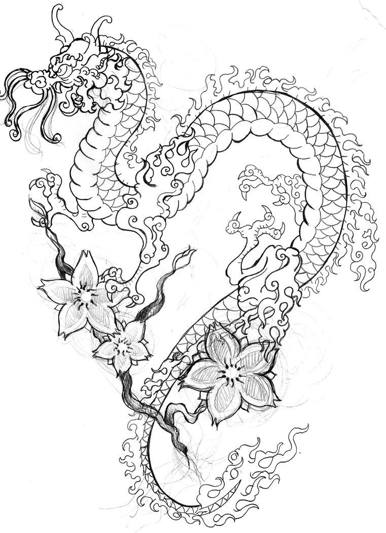 Japanese Flower Line Drawing : Dragon tattoo sketch by smarelda on deviantart