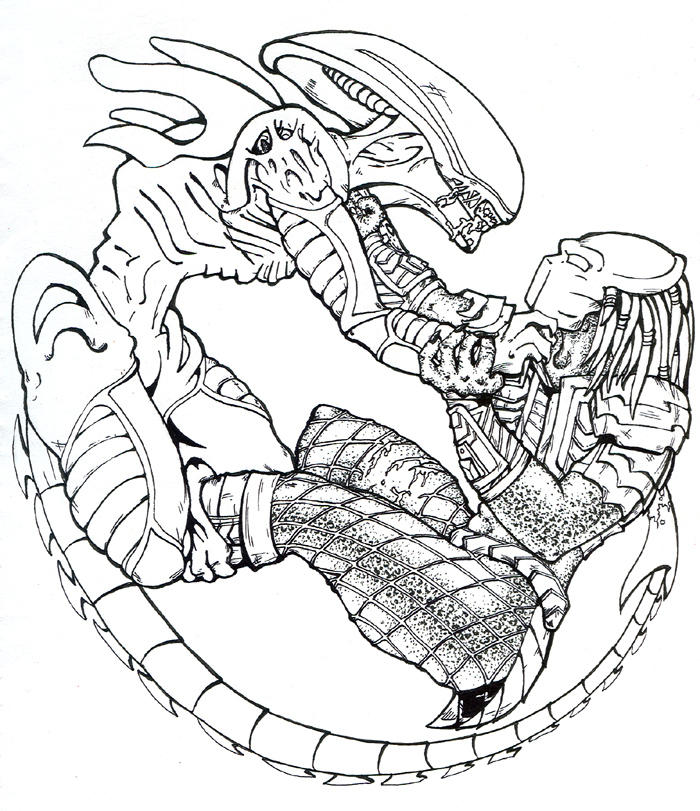 Avp ink by shanrelle on deviantart for Xenomorph coloring pages