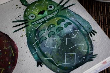 Totoro // GALAXY WATERCOLOR TUTORIAL by as-obu