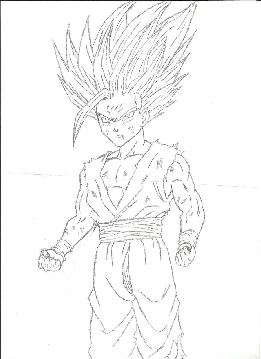 how to draw gohan super saiyan 5