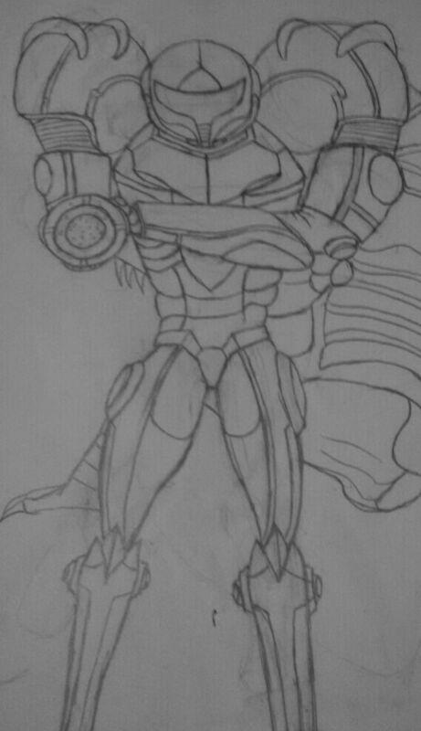 Samus Aran-Gravity Suit,Zero Mission (Sketch, WIP) by Ymeisnot