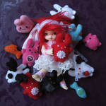 Berry and her plushies