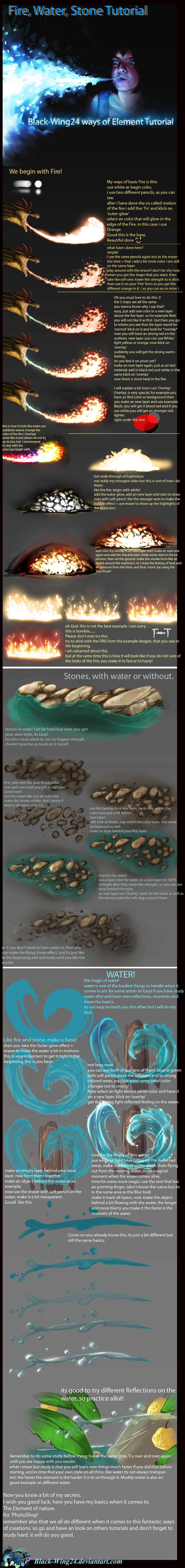 Fire, Stone and Water Tutorial by Black-Wing24