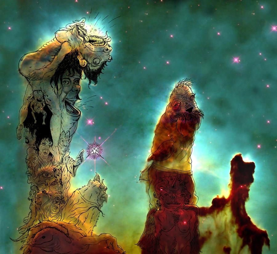 Defacing the Pillars of Creation by xfathersgunx on DeviantArt