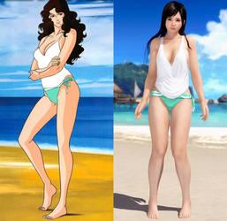 Rui Kisugi and Kokoro - Pomelo Swimsuit Comparison by AVGNJr1985