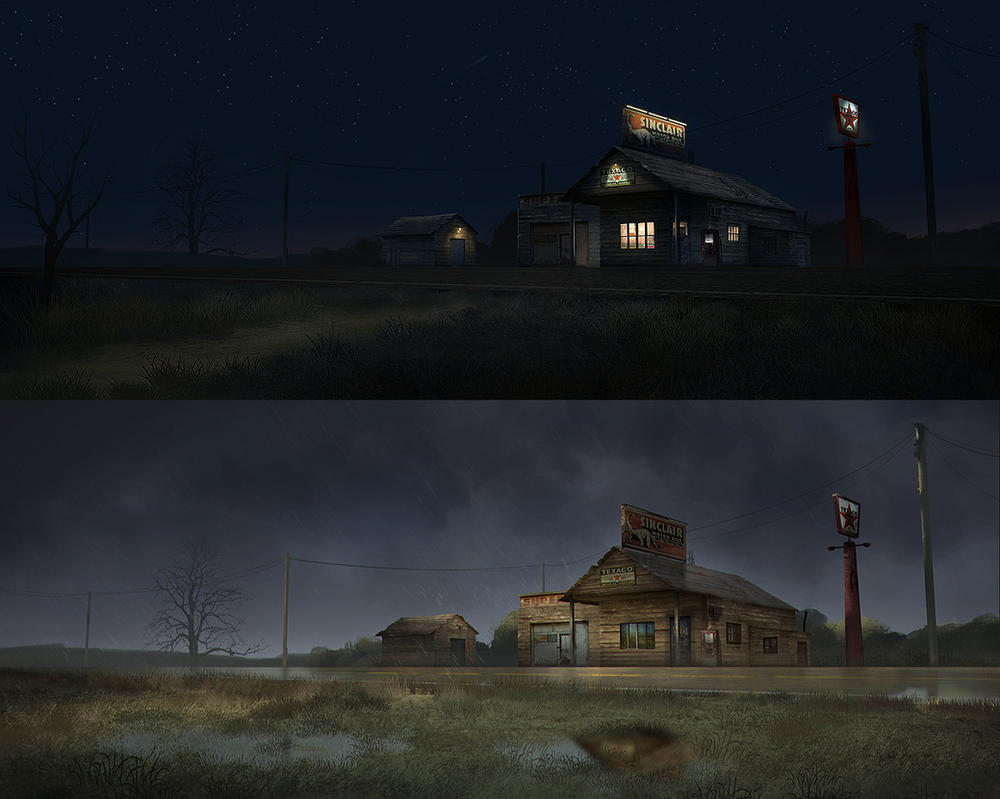 Old Gas Station - Stormy vs Clear Night by stayinwonderland