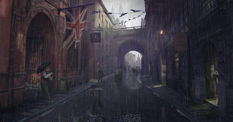Victorian Murder Concept - Victorian London Street