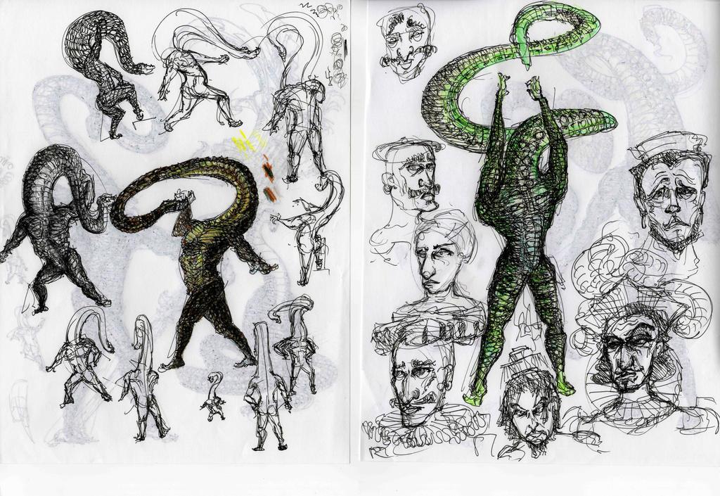 Snakes Men Studies by Edermarmae