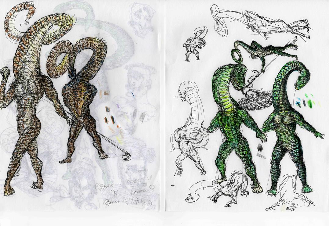 Snake Men Studies by Edermarmae