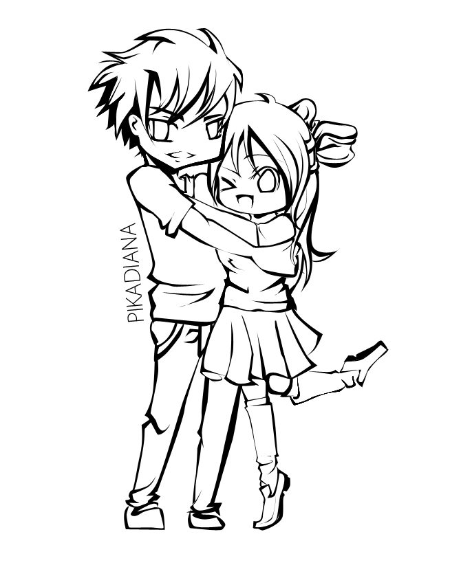 anime couples coloring pages | Anime couple lineart by Diana-hiwatari on DeviantArt