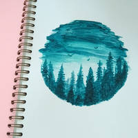Watercolor Forest Circle by jbertramart
