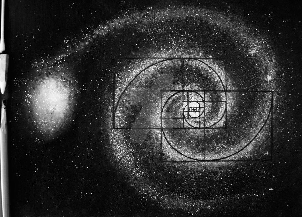 fibonacci galaxy charcoal drawing by caseynealartwork on