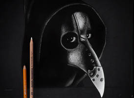 Plague Doctor Charcoal Drawing by CaseyNealArtwork