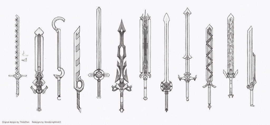 Weapon Redesigns Great Swords Pt 2 Sketch Stage By HIRVIOS On