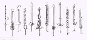 Weapon redesigns- great swords pt 2 (Sketch stage) by HIRVIOS
