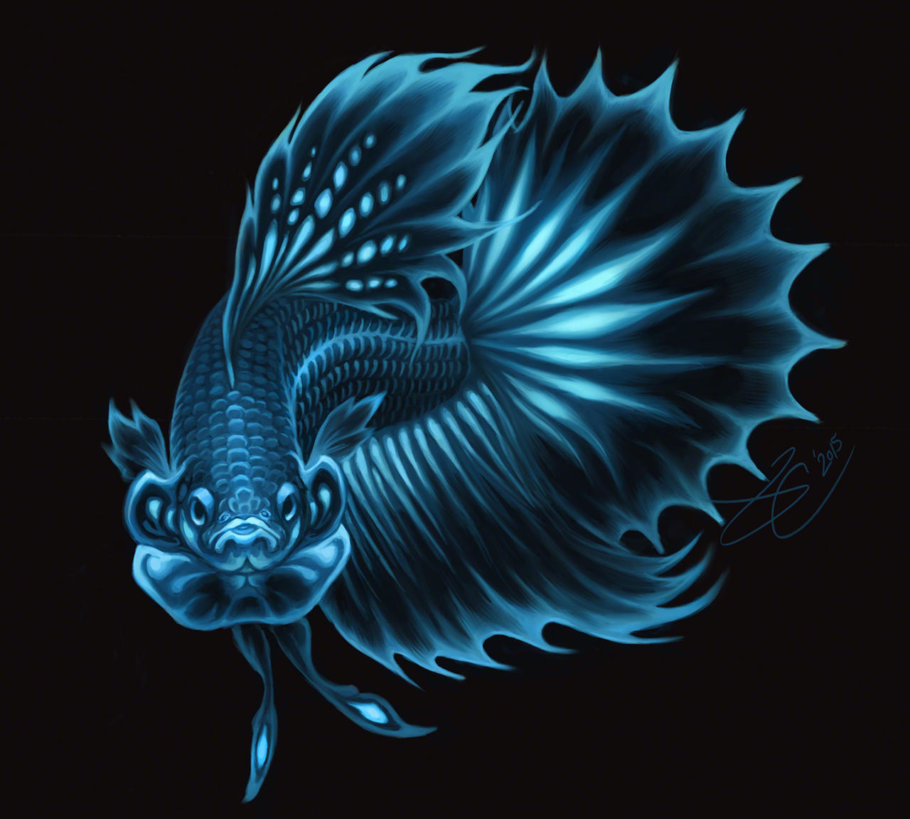 Bioluminescent betta by greyviolett on deviantart for Betta fish painting
