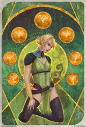 DAO:A - Velanna    The Seven of Pentacles by R-Aters