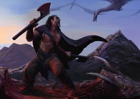 barbarian vs some dragons by SirHanselot