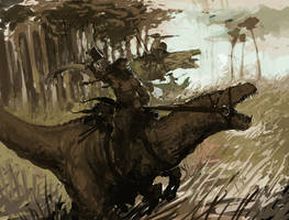 barbarians what ride dinosaurs WIP by SirHanselot