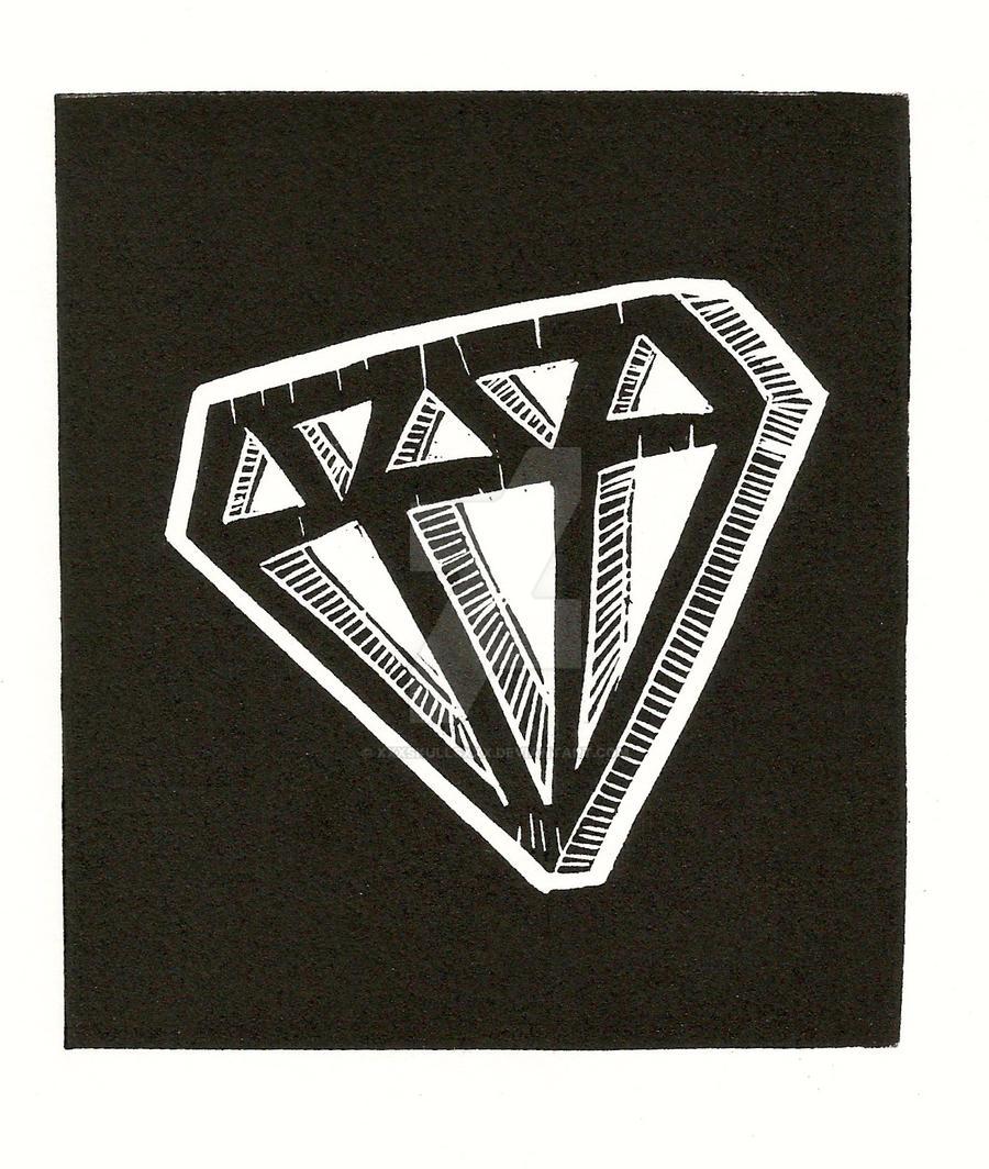 Lino-cut Diamond by xXxSkullsxXx