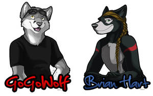 GoGoWolf and Brian Hart Badges by Idess