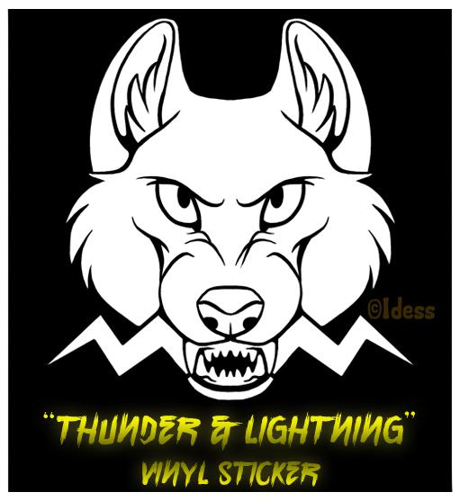 'Thunder and Lightning' Vinyl Sticker by Idess