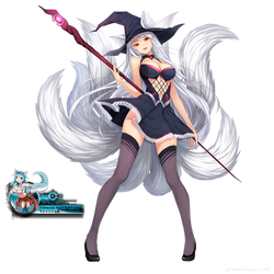 Kyuubi no kitsune girl render by Tomoe-Waterfox