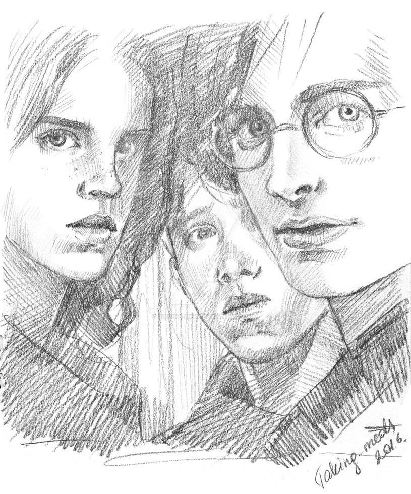 harry ron and hermione coloring pages - harry potter hermione granger ron weasley by taking meds