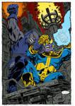 Darkseid VS Thanos by John Byrne (colors by me)