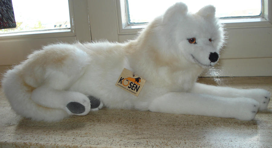 Lying Arctic Wolf Plushie Made By Kosen By