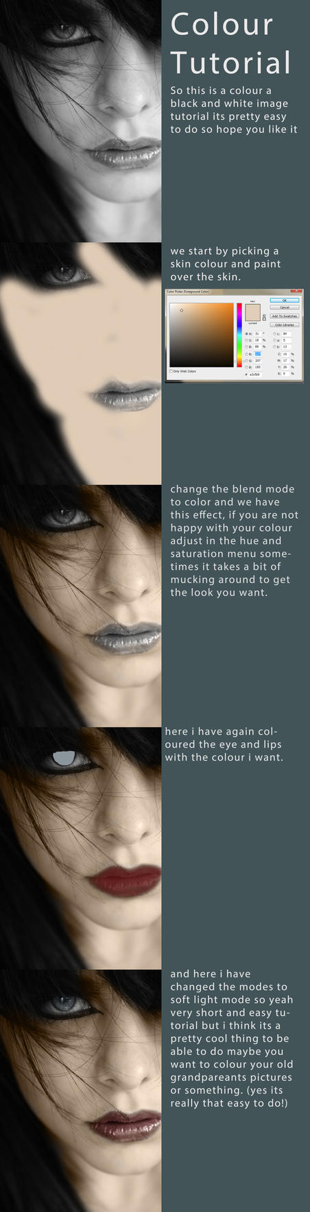 Colour a black and white image tutorial by HaleyDesigns