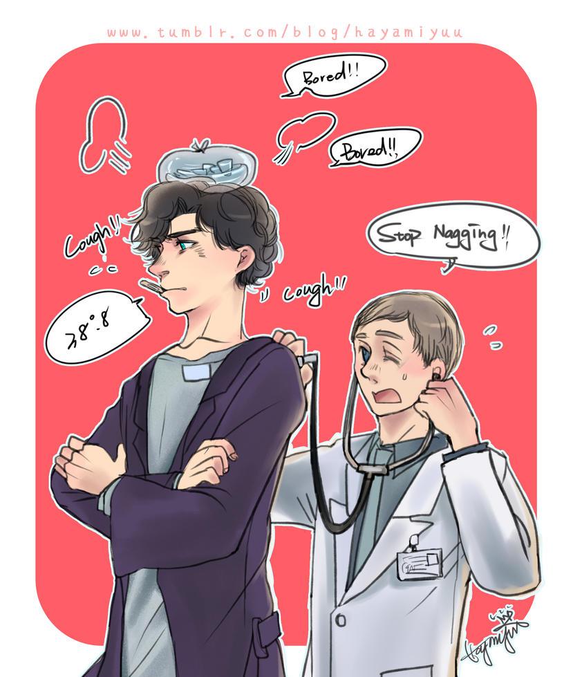 A sick Sherlock with his Jonh doctor by hayamiyuu