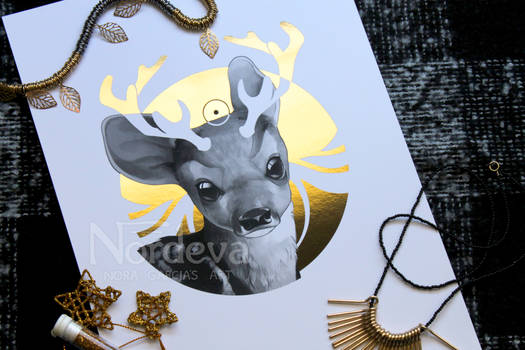 'Youth' - Gold foil art print FOR SALE