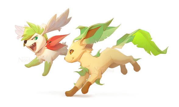 Shaymin and Leafeon