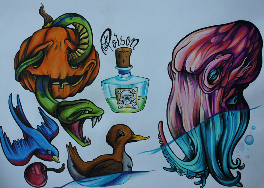 Tattoo flash new school colour sheet by lickingstitches on for New school tattoo artists