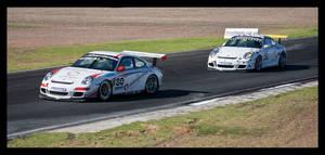 Two Porsche GT3s at Mallala, South Australia by WiseWanderer