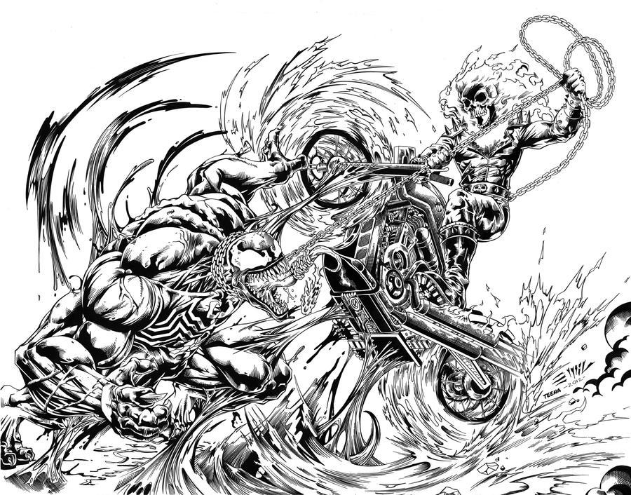 Ghost Rider vs Venom High Res Inks - Emil by tshorty11