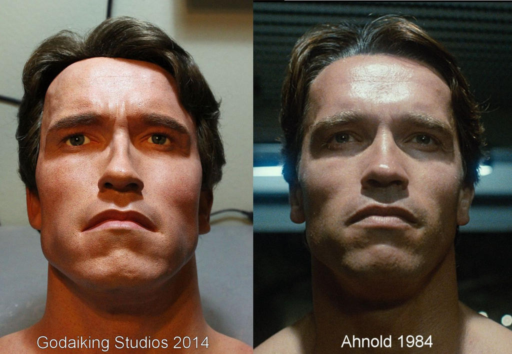 Terminator Tech Noir bust comparison by godaiking