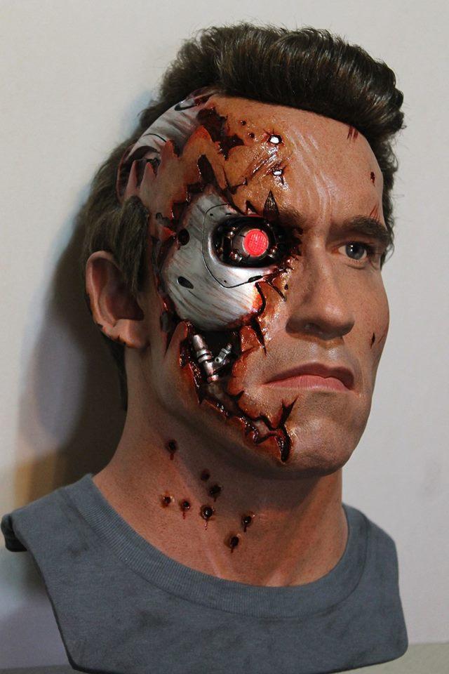 Terminator 2 lifesize Battle Damage bust by godaiking