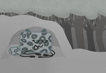 A Sleeping Snow Leopard Cake by xXShinyLeafXx
