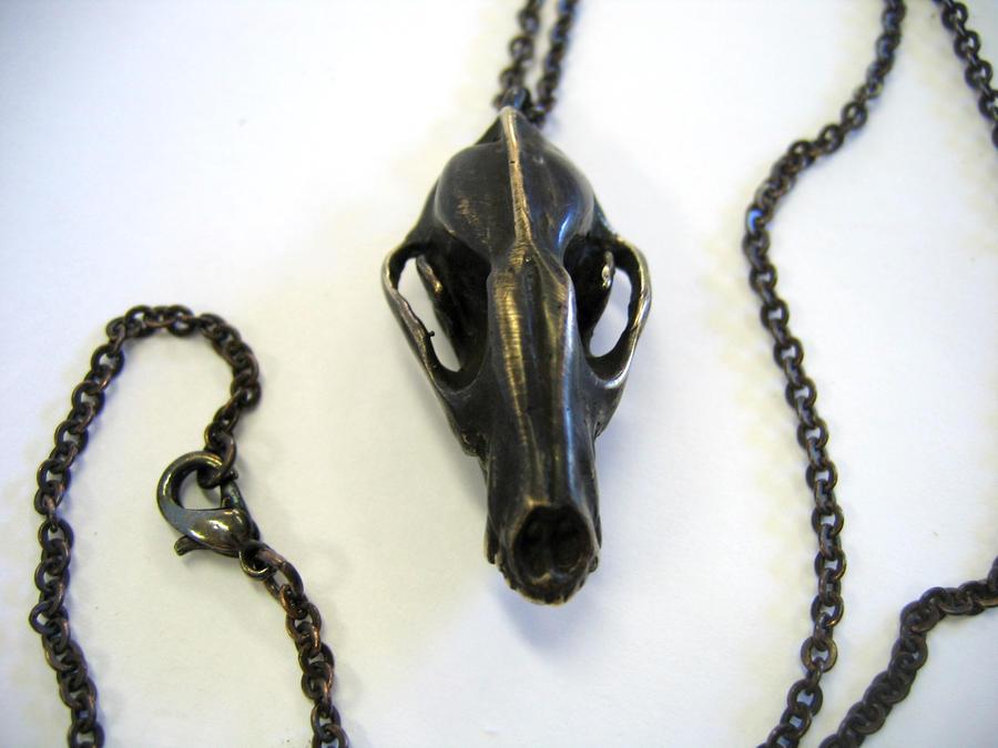 Bronze Wolf Skull Pendant by mrd74