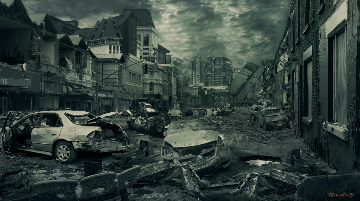 Huge 3D Panoramic Destroyed Future City Window View Wall ... |Future Destroyed City