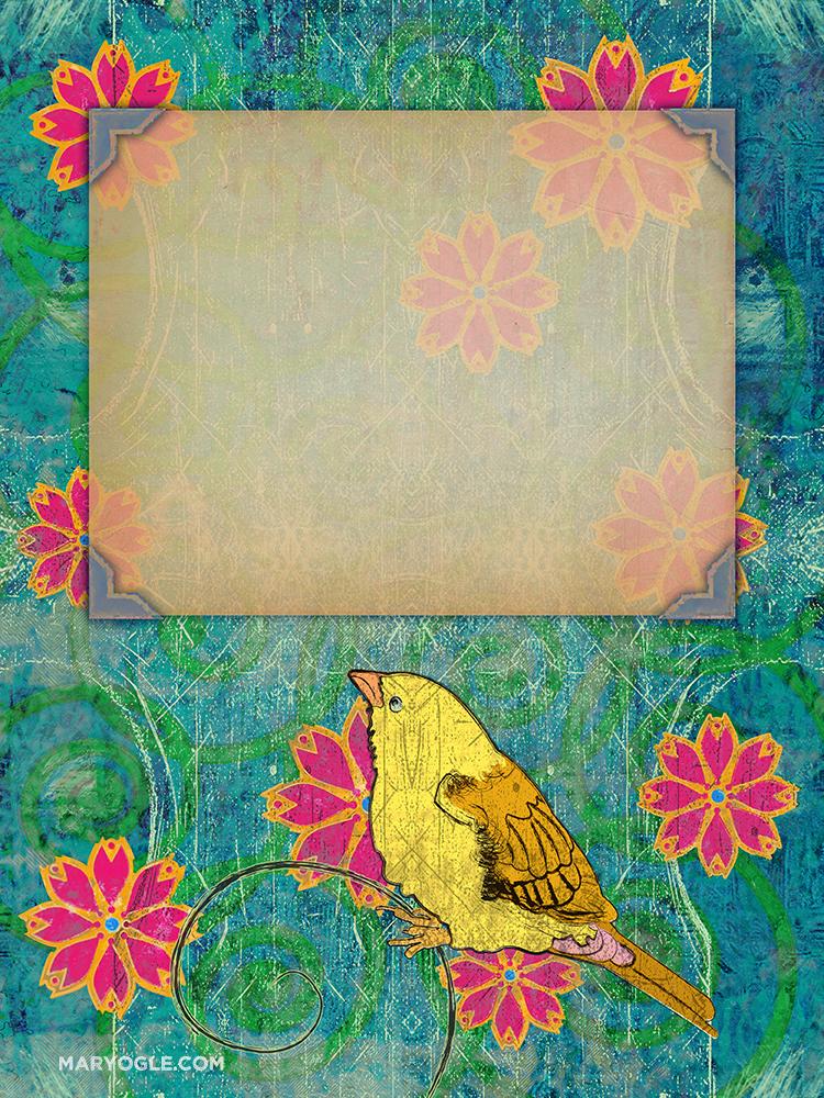 Bird in a Garden Book Cover by evisionarts