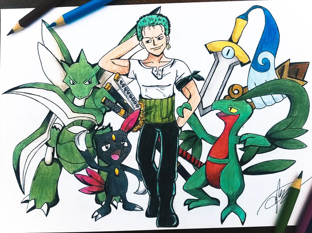 one piece x pokemon zoro by goldprovip on deviantart