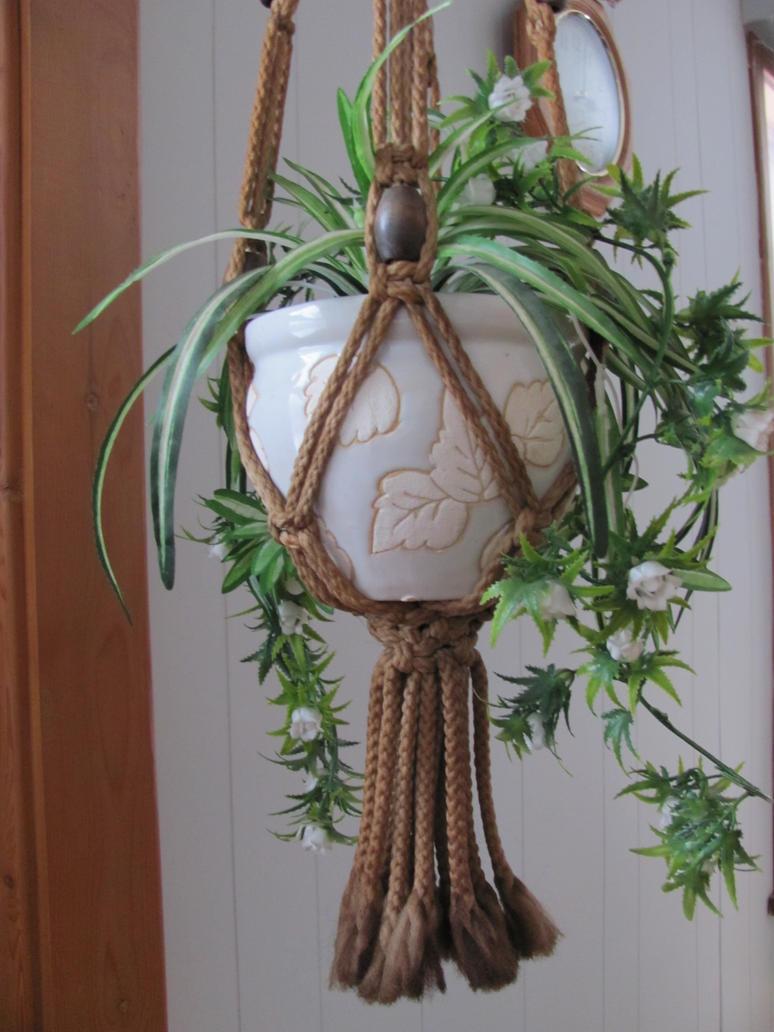 Подвесные кашпо для цветов своими руками крючком