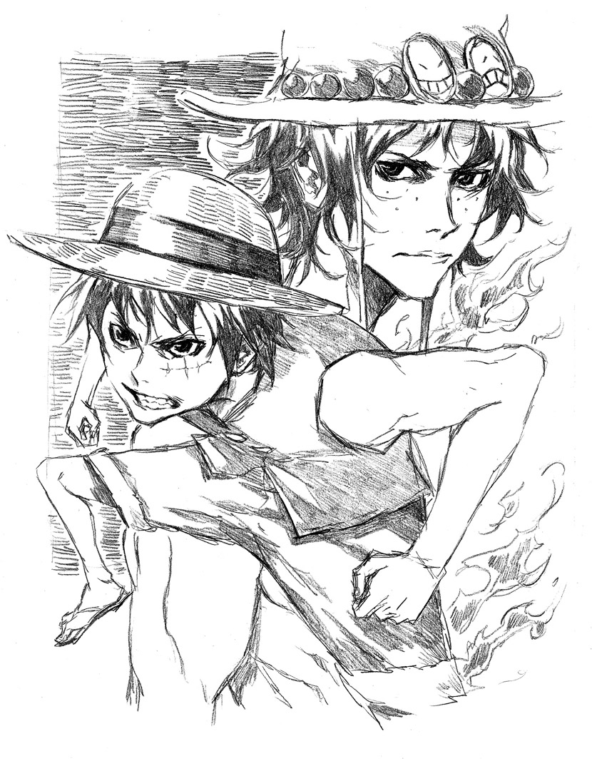 one piece Luffy n Ace sketch by therockerrabbit