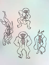 Holosuit concept characters sketch